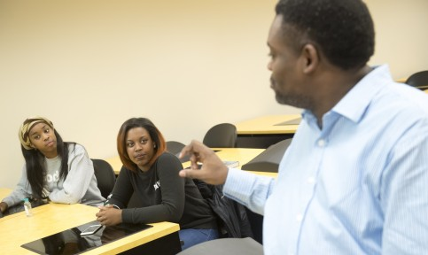 students and professor at bowie state university