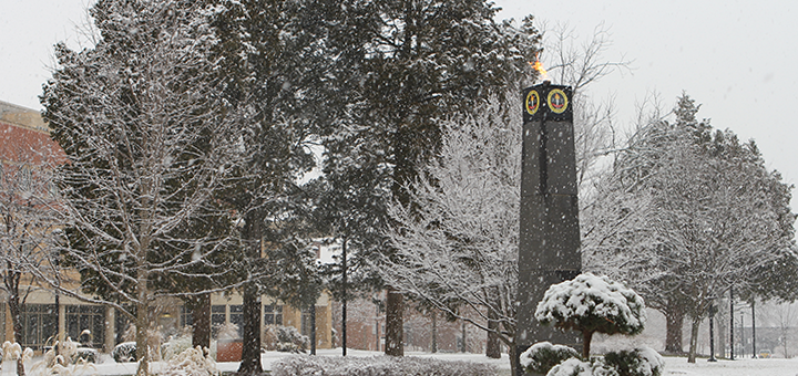 Winter scene at Bowie State University