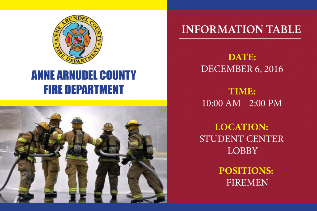 Anne Arundel Fire Department Information Table Bowie State University