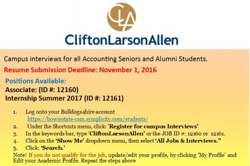 CliftonLarsonAllen Interview Accounting Senior and Alumni Students
