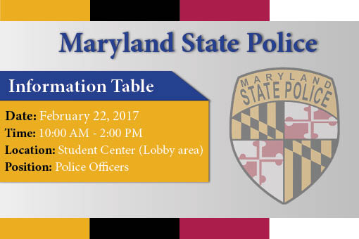 Maryland State Police Information Table recruiting Police officers
