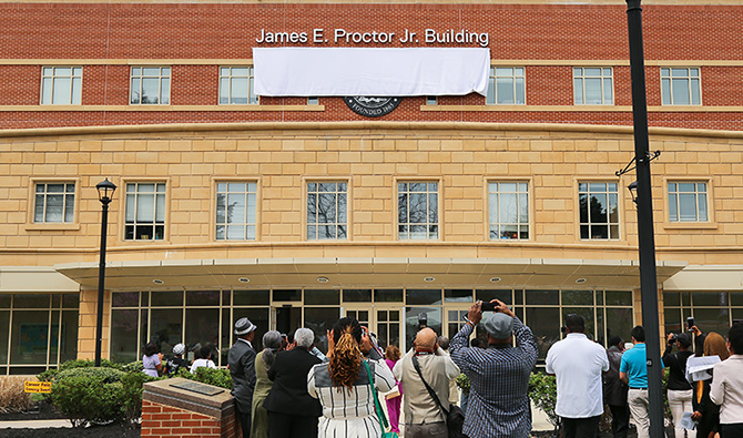 Unveiled Sign on the James E. Proctor Jr. Building