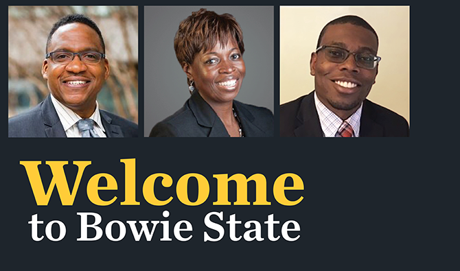 Welcome to Bowie State written on a black background with the headshots of the three new VPs